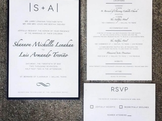 Black, White, & Navy Wedding Invitation