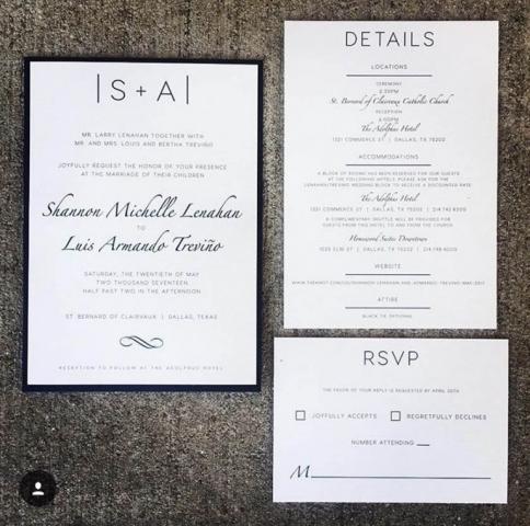 Black, White, & Navy Wedding Invitation