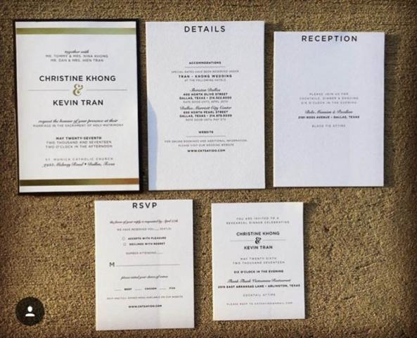 Black, White, and Gold Foil Wedding Invitations