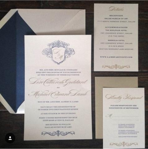 Blue, Gold, & Ivory Invitations