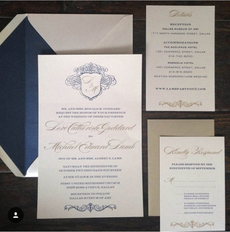 Blue, Gold, & Ivory Invitations