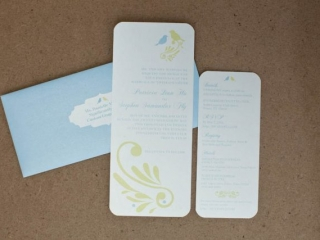 Blue, White, & Yellow Rectangular Wedding Invitations