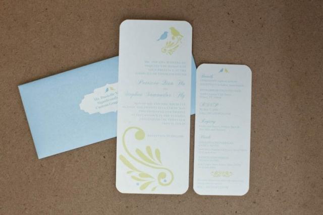 Blue, White, & Yellow Rectangular Wedding Invitations