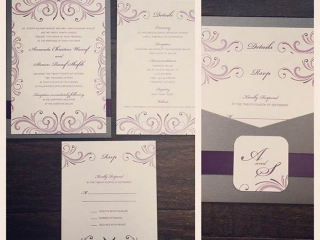 Fuchsia, Purple, & Gray Wedding Invitation