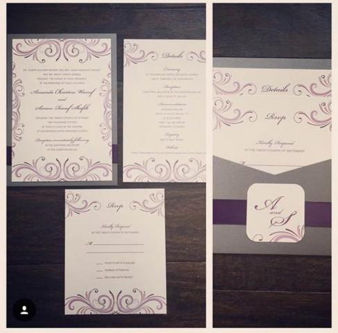 Fuchsia, Purple, & Gray Wedding Invitation