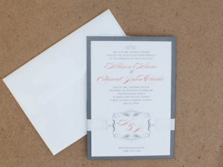 Grey, White, & Peach Wedding Invitation