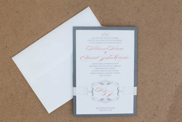 Grey, White, & Peach Wedding Invitation