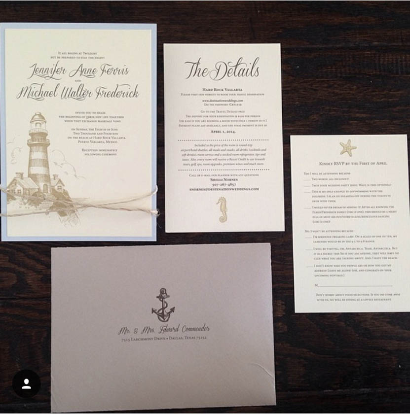 Nautical Invitation; Lighthouse, Anchor Invitation