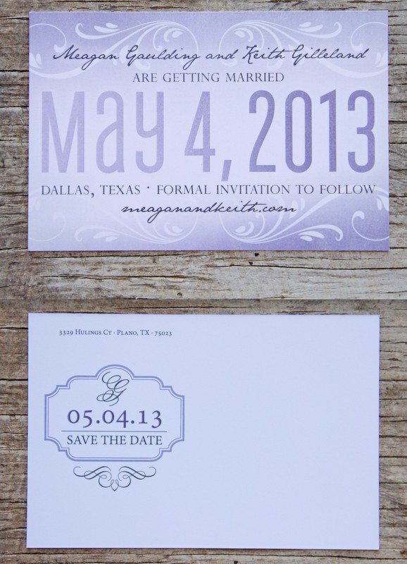 Purple & Gray Save the Dates