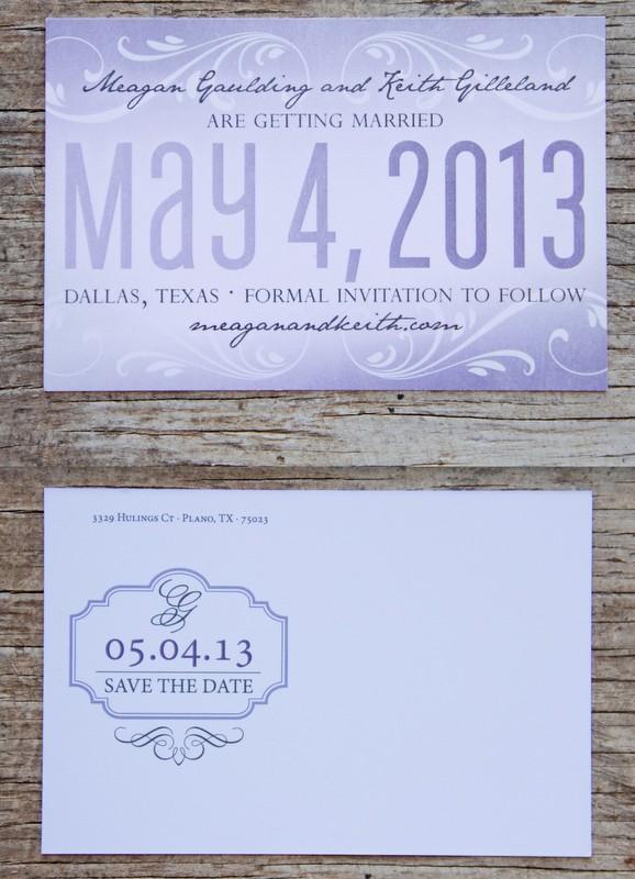 Purple & Gray Save the Dates