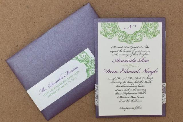 Purple, Green, Ivory, Lace Wedding Invitation