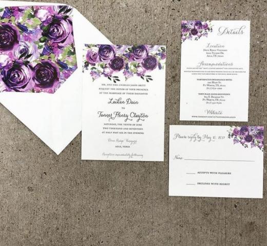 Purple Watercolor Flower Wedding Invitation