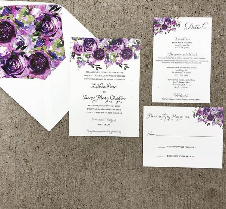 Purple Watercolor Flower Wedding Invitation