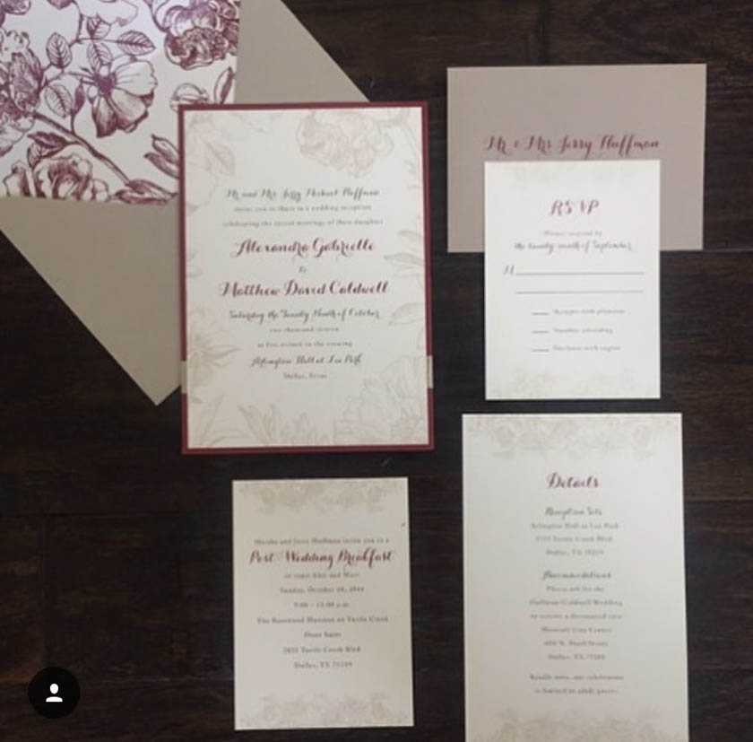 Red Ivory and Taupe Invitations Red Ivory