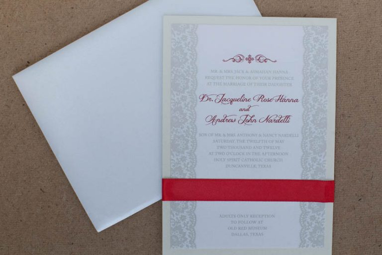 Red, Ivory, and Taupe Wedding Invitations