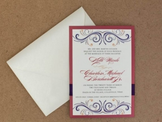 Red, Purple, and Orange Wedding Invitation