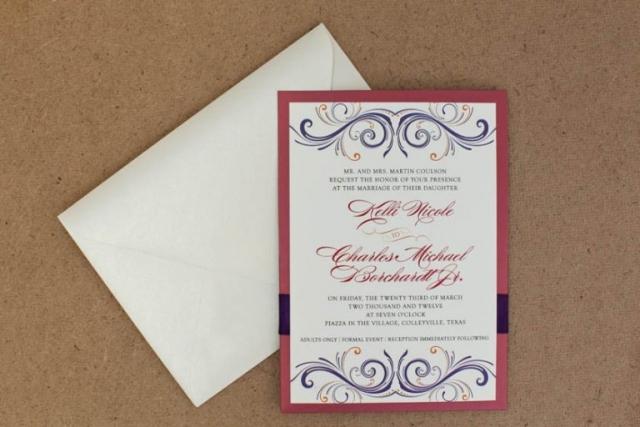 Red, Purple, and Orange Wedding Invitation