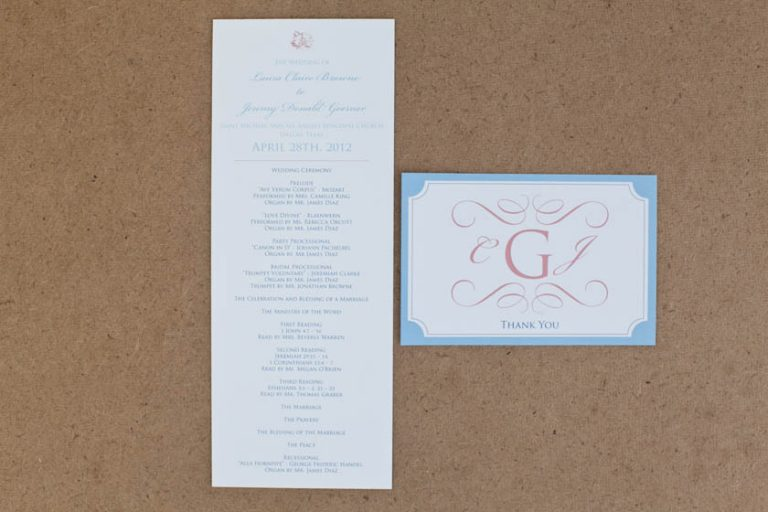 Soft Blue, Peach, and White Ceremony Program