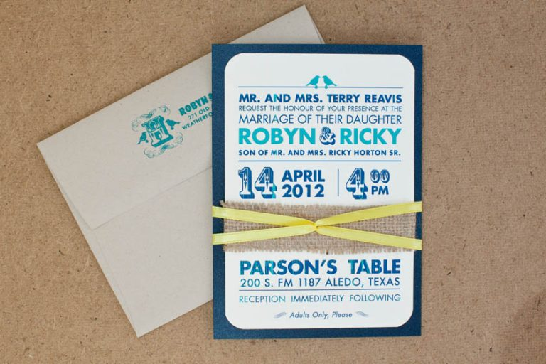 Vintage Navy Burlap Wedding Invitation