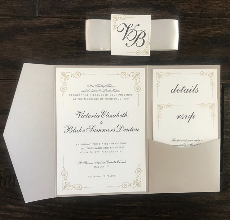 1 Gold and White Letterpress and Foil Invitation Wedding Invitations Significant Events