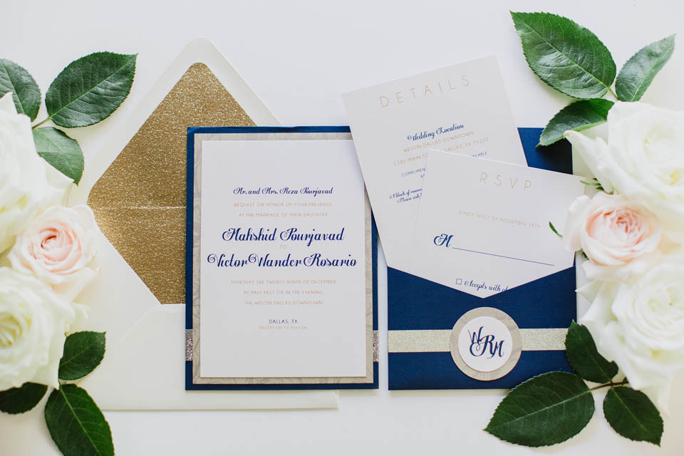 1 Navy Gold u0026 Ivory Invitation Wedding