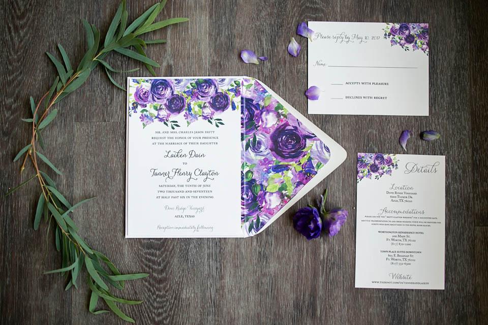 purple white silver wedding invitations%0A  Purple  u     White Floral Invitation
