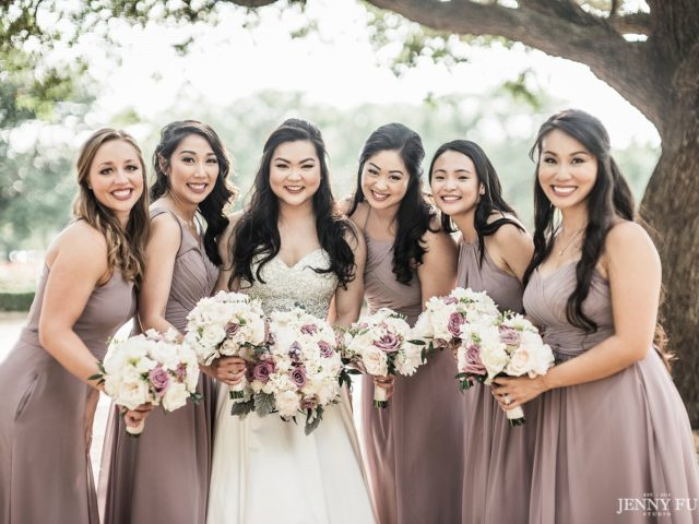 ec3534ed2b7 Amy s bridesmaids looked so lovely in these smoky lilac gowns paired with  their pink   white bouquets. Perfect for a Texas wedding in Spring!